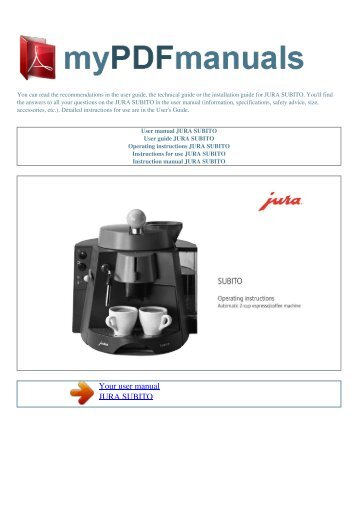 User Manual JURA SUBITO   MY PDF MANUALS