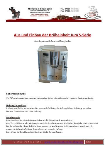 wasserlaufplan s serie impressa 500 selber schrauben an jura. Black Bedroom Furniture Sets. Home Design Ideas