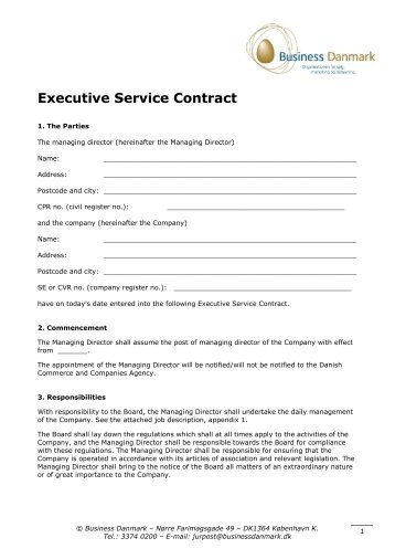 Executive Service Contract - Business Danmark