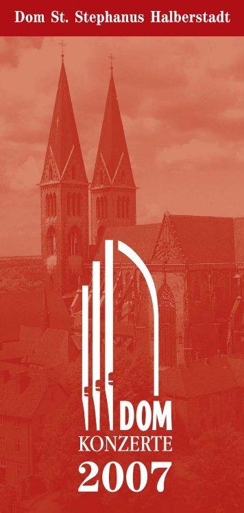 konzertprogramm 2007 - Evangelische Kirchenmusik Halberstadt