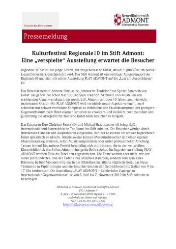 """Kulturfestival Regionale10 im Stift Admont: Eine """"verspielte ..."""