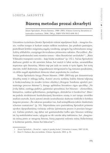 Būsenų metodas prozai skvarbyti - Lietuvių literatūros ir tautosakos ...
