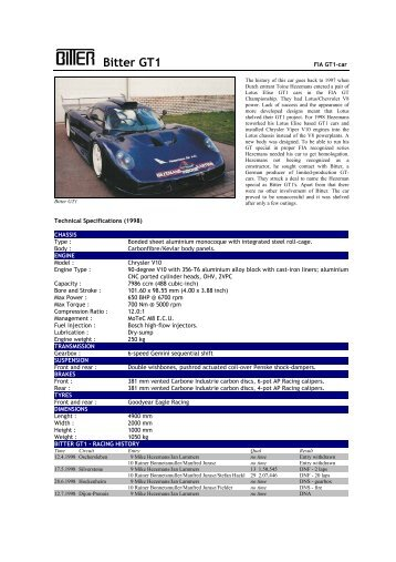 1998 Bitter GT1 - Motorsports Almanac