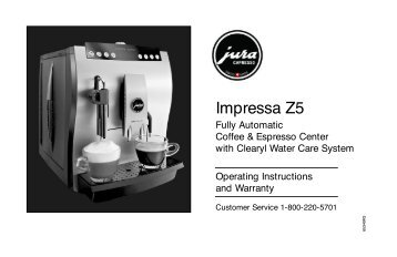 Jura Z5 Espresso Machine User Manual - Seattle Coffee Gear