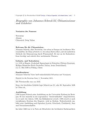 Biographie von Johannes Schreck SJ, Chinamissionar und Gelehrter