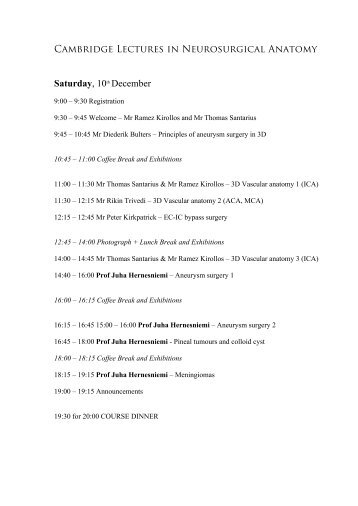 is available from here - Cambridge Lectures in Neurosurgical Anatomy