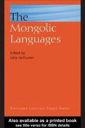 The Mongolic Languages - Turuz.info