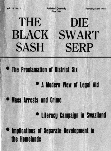 The Black Sash/ Die Swart Serp February 1966 - DISA