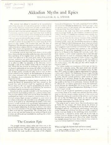 Akkadian Myths and Epics