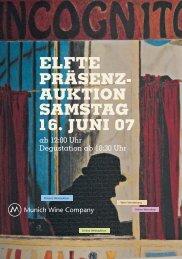 elfte präsenz- auktion samstag 16. juni 07 - Munich Wine Company