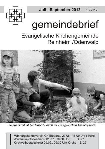 Gemeindebrief Sommer 2012 - Evangelische Kirche Reinheim
