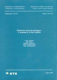 Palmottu natural analogue - GTK - Geologian tutkimuskeskus