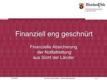 Finanziell eng geschnürt - Finanzielle Absicherung der ...