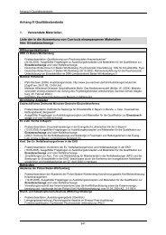 Anhang III Qualitätsstandards 1. Verwendete Materialien Liste der in ...