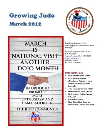 The March 2012 issue of USJA's Growing Judo - Stallion Springs