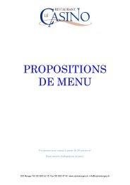 Propositions de menu banquet