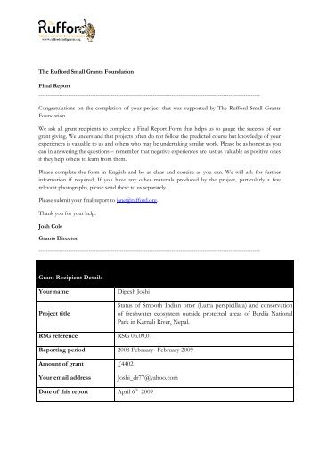 Final Report - The Rufford Small Grants Foundation