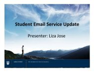 Student Email Service Update: Presenter Liza Jose - Student Services