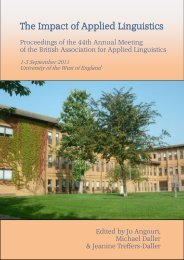 Proceedings of the - British Association for Applied Linguistics