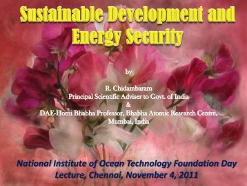National Institute of Ocean Technology Foundation Day ... - NIOT