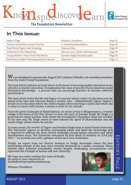 In This Issue: Ed ito r's Page - Azim Premji Foundation