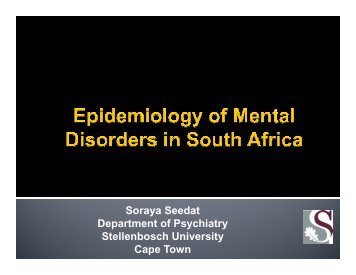 Epidemiology of mental disorders - Department of Health