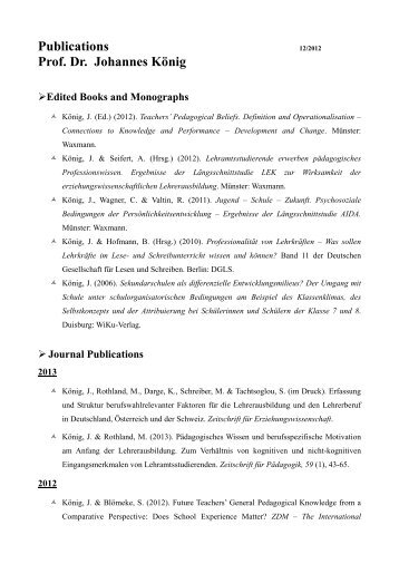 Publications Prof. Dr. Johannes König - Universität zu Köln