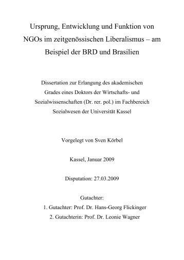 am Beispiel der BRD und Brasilien - KOBRA - Universität Kassel