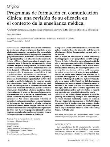 Programas de formación en comunicación clínica ... - SciELO España