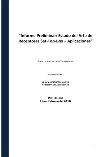 Tarea 2 SET-TOP-BOX _Informe 1 - area de aplicaciones ...