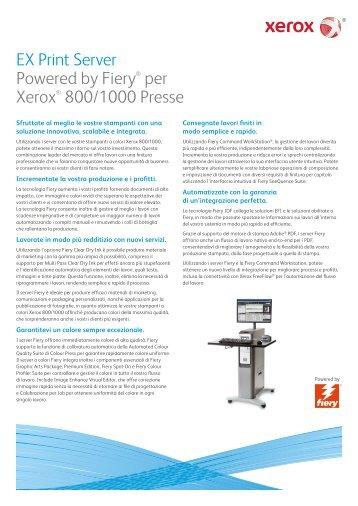 EX Print Server Powered by Fiery® per Xerox® 800/1000 Presse