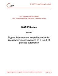 W&R Etiketten Biggest improvement in quality production ... - CIP4