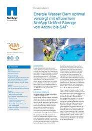 Energie Wasser Bern optimal versorgt mit effizientem Netapp ...