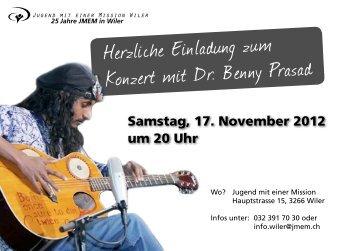 Herzliche Einladung zum Konzert mit Dr. Benny Prasad