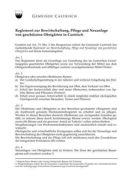 Reglement zur Bewirtschaftung, Pflege und Neuanlage von - Castrisch