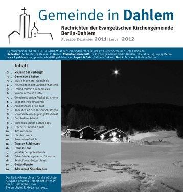 Gemeinde in Dahlem - Evangelischen Kirchengemeinde Berlin ...