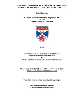 David Brannan PhD Thesis - University of St Andrews