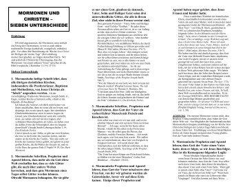 MORMONEN UND CHRISTEN – - Mormon Info.Org
