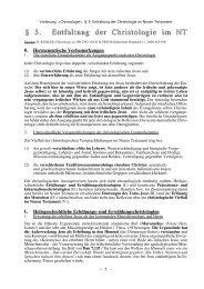 Entfaltung der Christologie im Neuen Testament - Theologie-Skripten