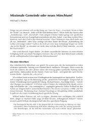 Missionale Gemeinde oder neues Mönchtum? - TheoBlog
