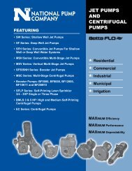 Jet pumps and centrifugal pumps featuring - National Pump Company