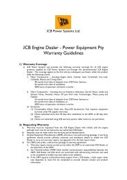 JCB Engine Dealer - Power Equipment Pty Warranty ... - Yanmar