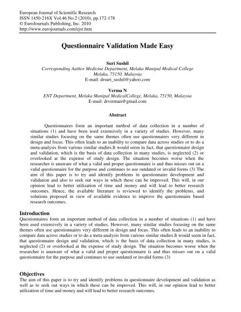 validating questionnaire