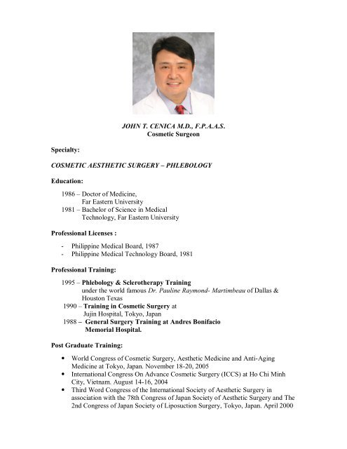 Dr  John T  Cenica - The Philippine Academy of Aesthetics Surgery