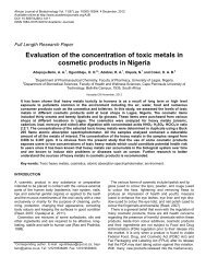 Evaluation of the concentration of toxic metals in cosmetic products ...