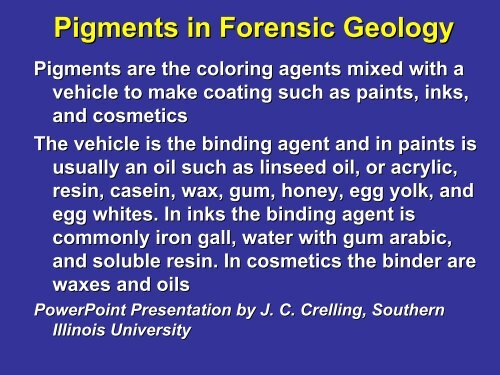 Pigments In Forensic Geology Faculty Server Contact