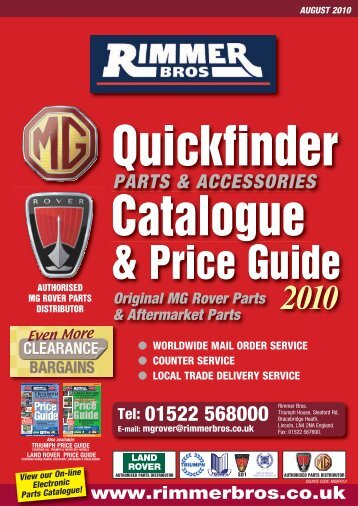 MG Rover Parts & Accessories Catalogue and Price Guide