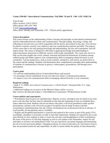 Comm 3190-003 : Intercultural Communication / F 05 / M W 3:00 – 4 ...