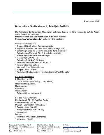 Materialliste Klasse 1 - Ganztagsschule Grundschule Drangstedt ...