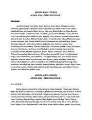 SOMERS MIDDLE SCHOOL HONOR ROLL – MARKING PERIOD 1 ...